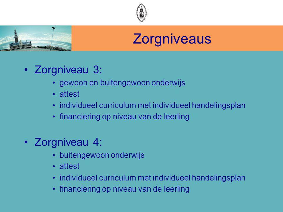 Zorgniveaus •Zorgniveau 3: •gewoon en buitengewoon onderwijs •attest •individueel curriculum met individueel handelingsplan •financiering op niveau va