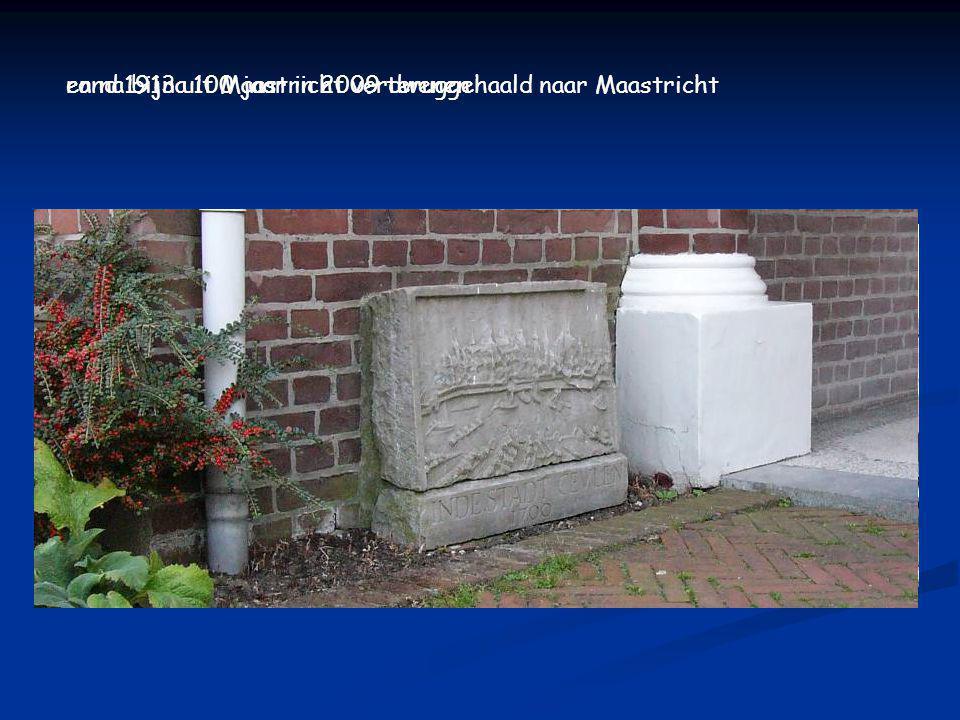 IN DE STADT CEVLEN = IN DE STAD KEULEN een echte Maastrichtse steen, oorspronkelijk van Stenenwal 21 (foto 1912) en zo teruggevonden in Echt