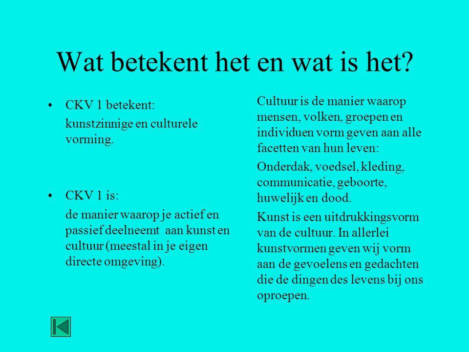 Wat betekent het en wat is het? •CKV 1 betekent: kunstzinnige en culturele vorming. •CKV 1 is: de manier waarop je actief en passief deelneemt aan kun