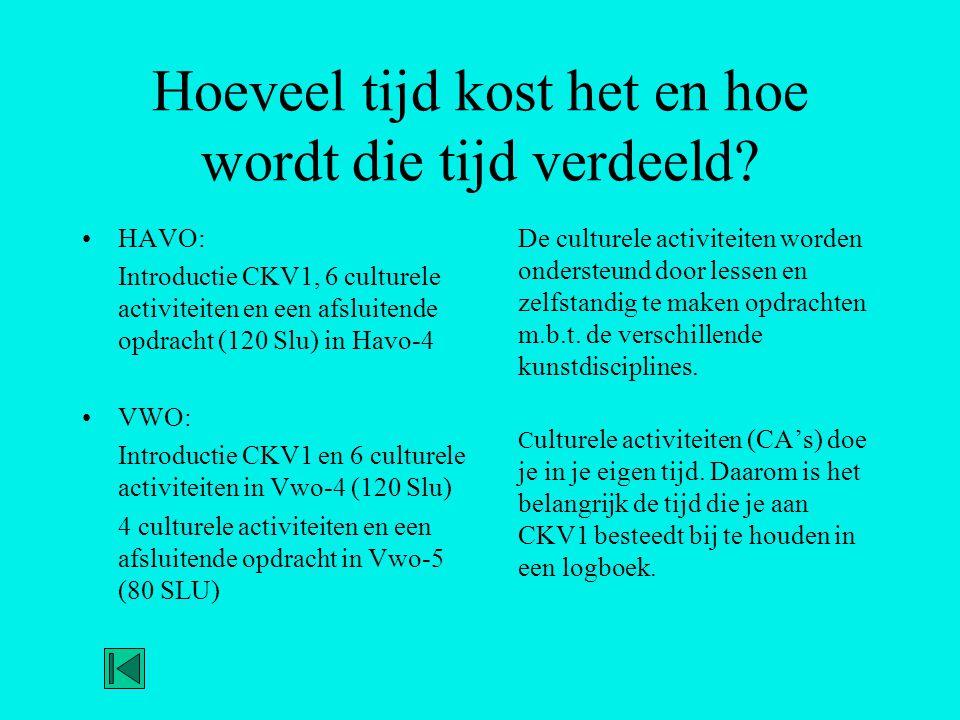 Hoeveel tijd kost het en hoe wordt die tijd verdeeld? •HAVO: Introductie CKV1, 6 culturele activiteiten en een afsluitende opdracht (120 Slu) in Havo-