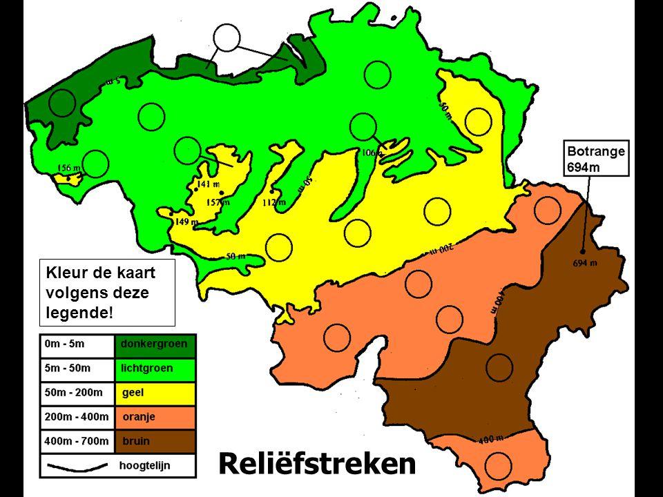 Reliëfstreken Kleur de kaart volgens deze legende!
