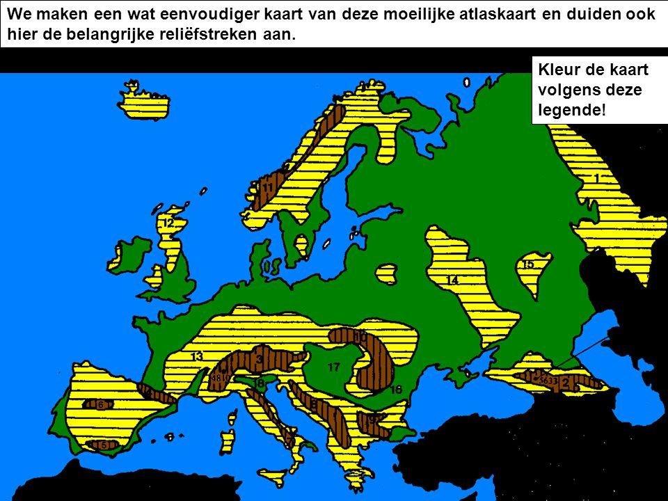 We maken een wat eenvoudiger kaart van deze moeilijke atlaskaart en duiden ook hier de belangrijke reliëfstreken aan.