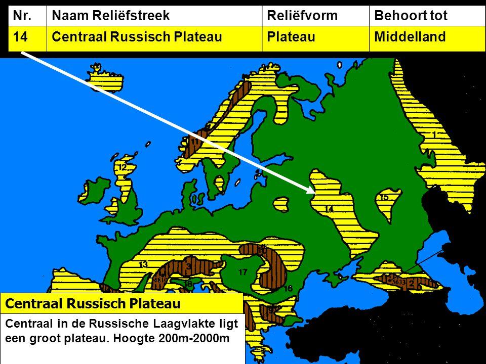 Nr.Naam ReliëfstreekReliëfvormBehoort tot 14Centraal Russisch PlateauPlateauMiddelland Centraal Russisch Plateau Centraal in de Russische Laagvlakte ligt een groot plateau.
