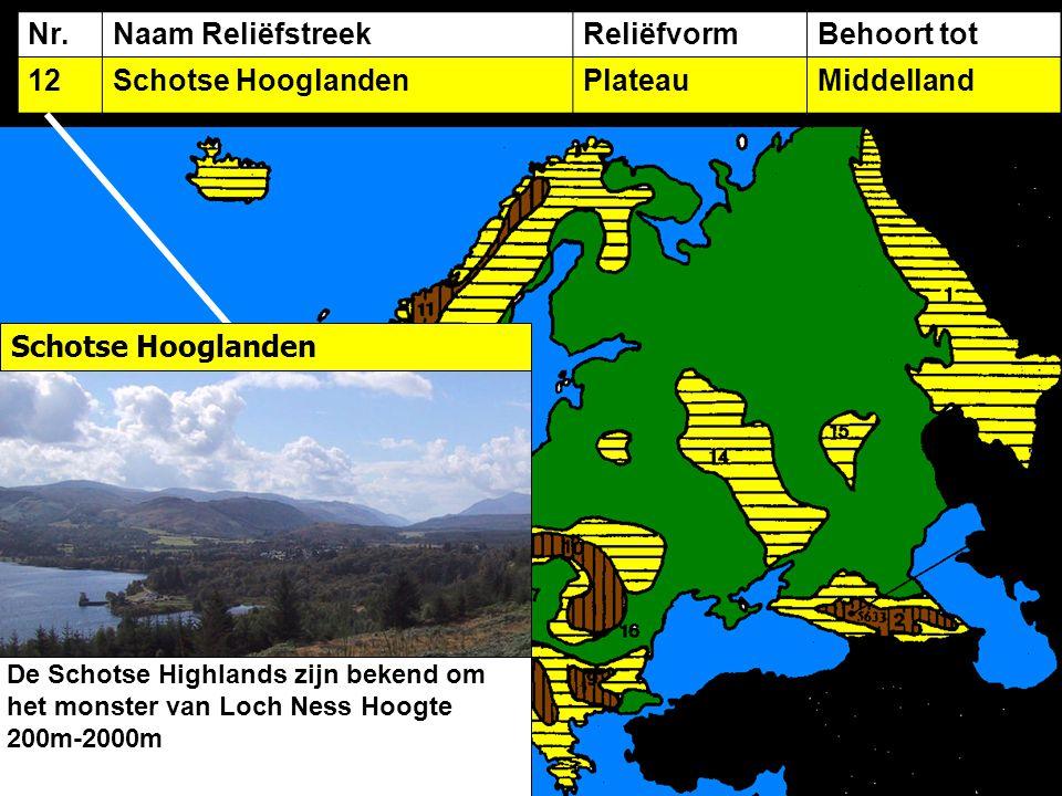 Nr.Naam ReliëfstreekReliëfvormBehoort tot 12Schotse HooglandenPlateauMiddelland Schotse Hooglanden De Schotse Highlands zijn bekend om het monster van Loch Ness Hoogte 200m-2000m