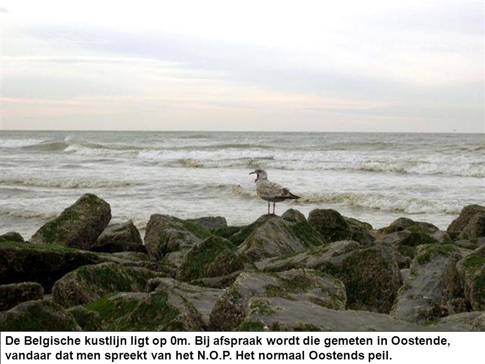 De Belgische kustlijn ligt op 0m. Bij afspraak wordt die gemeten in Oostende, vandaar dat men spreekt van het N.O.P. Het normaal Oostends peil.
