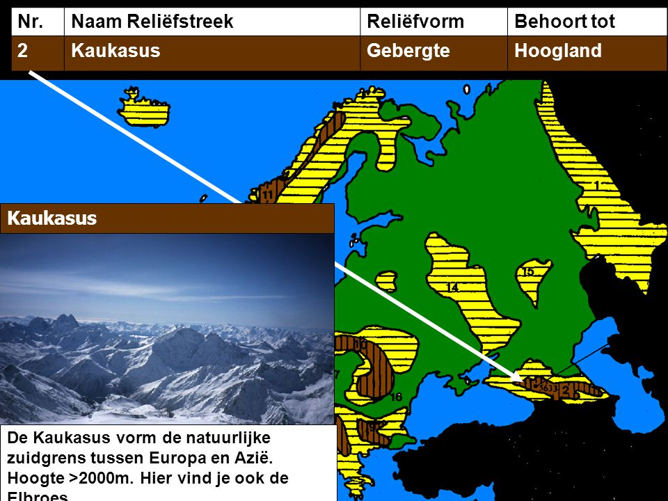 Nr.Naam ReliëfstreekReliëfvormBehoort tot 2KaukasusGebergteHoogland Kaukasus De Kaukasus vorm de natuurlijke zuidgrens tussen Europa en Azië. Hoogte >