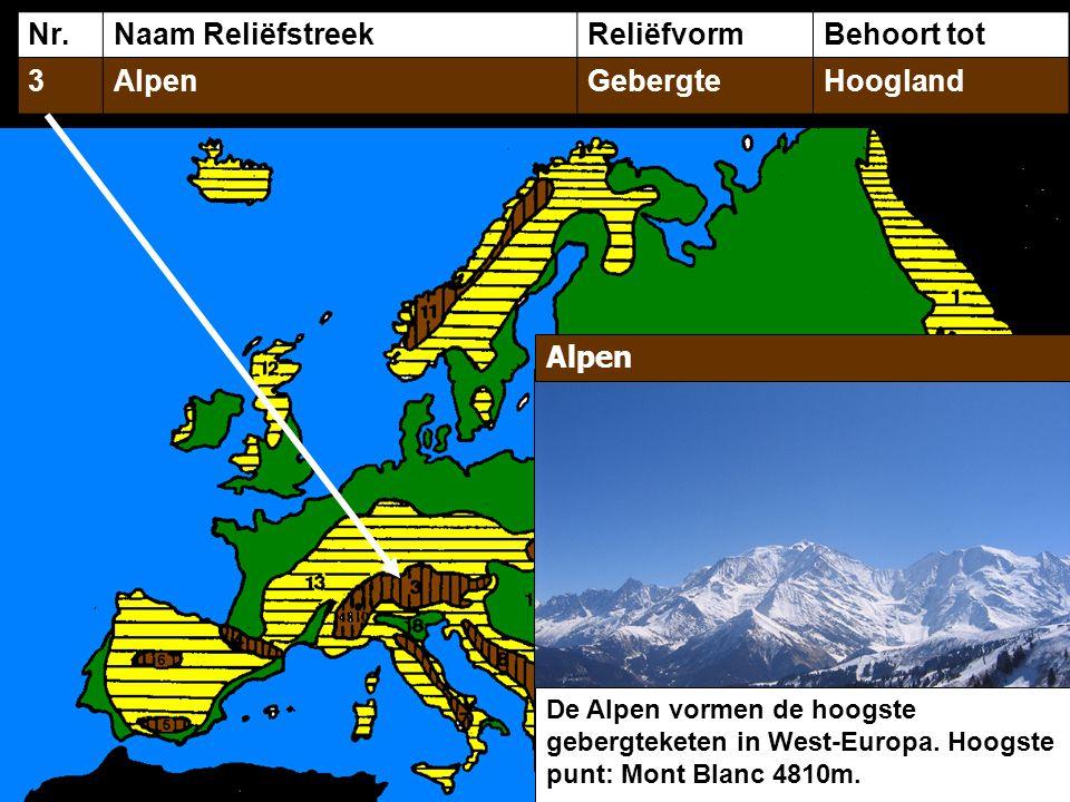 Nr.Naam ReliëfstreekReliëfvormBehoort tot 3AlpenGebergteHoogland Alpen De Alpen vormen de hoogste gebergteketen in West-Europa.