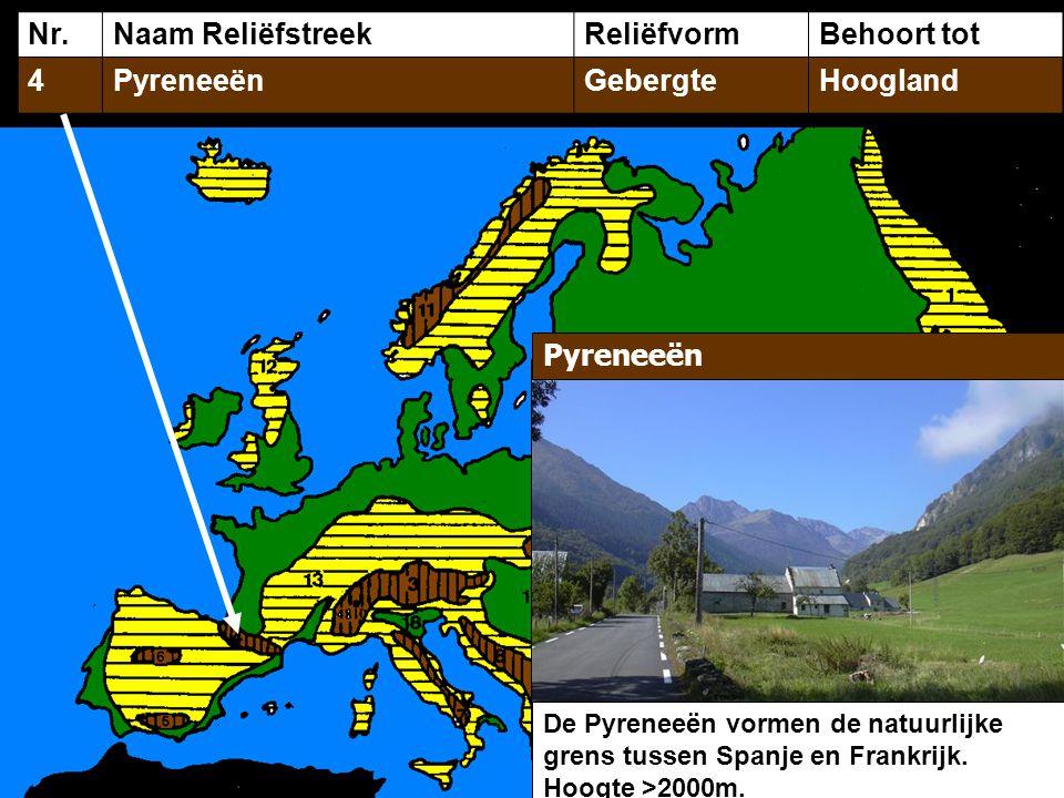 Nr.Naam ReliëfstreekReliëfvormBehoort tot 4PyreneeënGebergteHoogland Pyreneeën De Pyreneeën vormen de natuurlijke grens tussen Spanje en Frankrijk. Ho