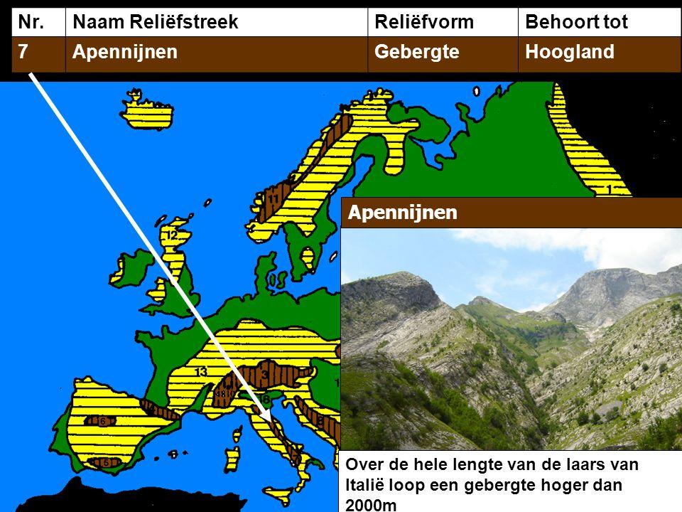 Nr.Naam ReliëfstreekReliëfvormBehoort tot 7ApennijnenGebergteHoogland Over de hele lengte van de laars van Italië loop een gebergte hoger dan 2000m Apennijnen