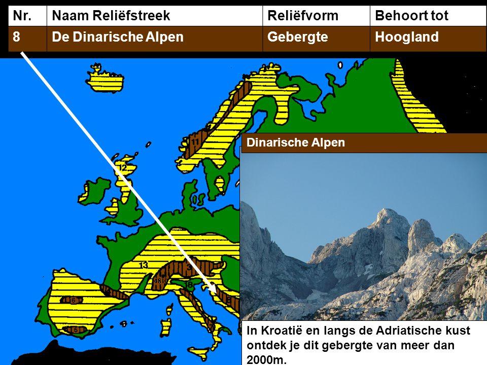 Nr.Naam ReliëfstreekReliëfvormBehoort tot 8De Dinarische AlpenGebergteHoogland Dinarische Alpen In Kroatië en langs de Adriatische kust ontdek je dit gebergte van meer dan 2000m.
