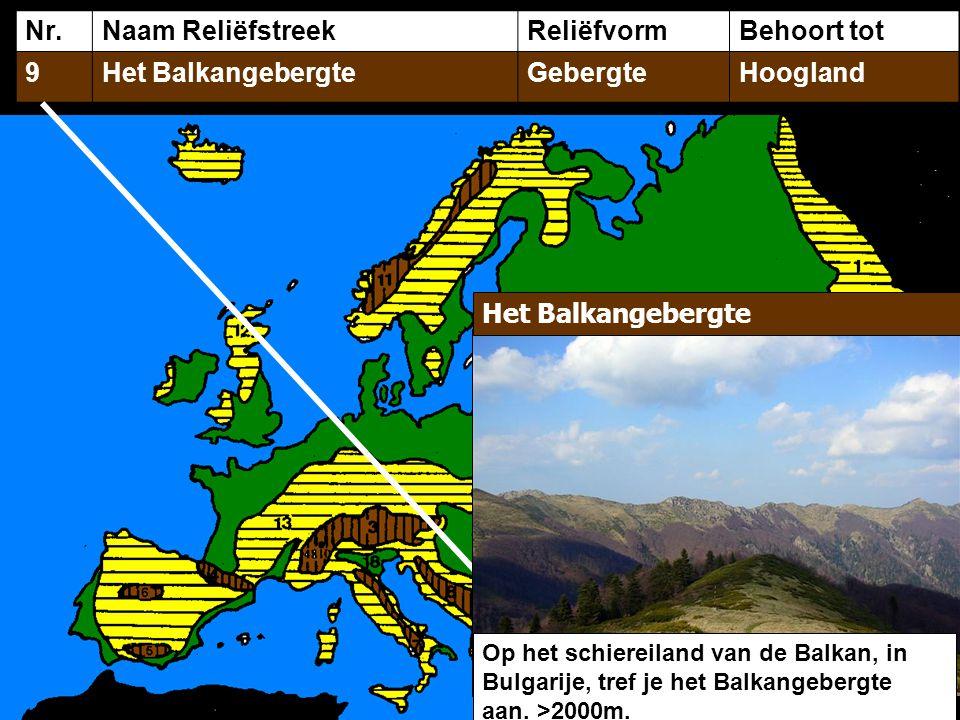 Nr.Naam ReliëfstreekReliëfvormBehoort tot 9Het BalkangebergteGebergteHoogland Het Balkangebergte Op het schiereiland van de Balkan, in Bulgarije, tref je het Balkangebergte aan.