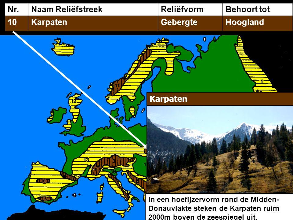 Nr.Naam ReliëfstreekReliëfvormBehoort tot 10KarpatenGebergteHoogland Karpaten In een hoefijzervorm rond de Midden- Donauvlakte steken de Karpaten ruim 2000m boven de zeespiegel uit.