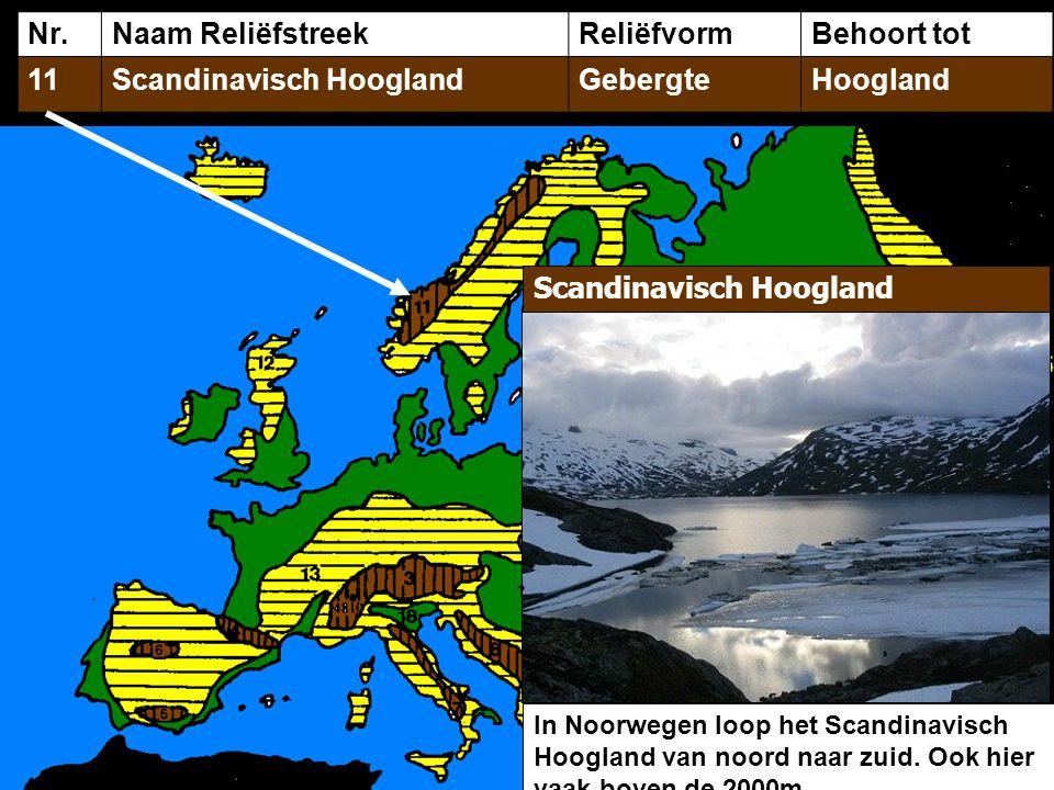 Nr.Naam ReliëfstreekReliëfvormBehoort tot 11Scandinavisch HooglandGebergteHoogland In Noorwegen loop het Scandinavisch Hoogland van noord naar zuid. O