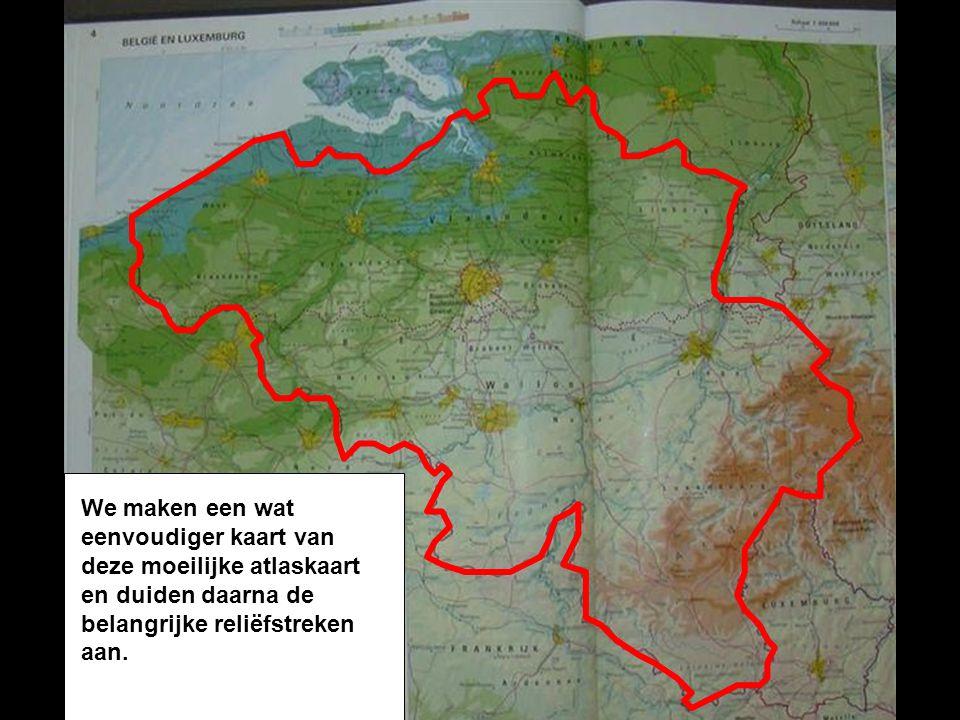 We maken een wat eenvoudiger kaart van deze moeilijke atlaskaart en duiden daarna de belangrijke reliëfstreken aan.