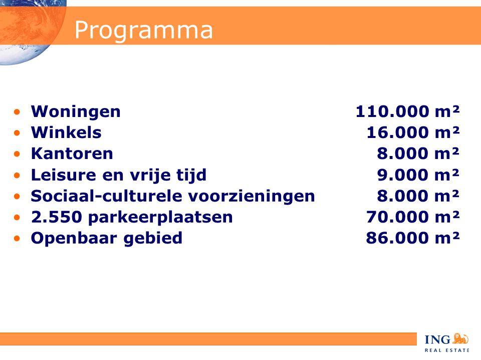 Programma •Woningen 110.000 m² •Winkels 16.000 m² •Kantoren 8.000 m² •Leisure en vrije tijd 9.000 m² •Sociaal-culturele voorzieningen 8.000 m² •2.550