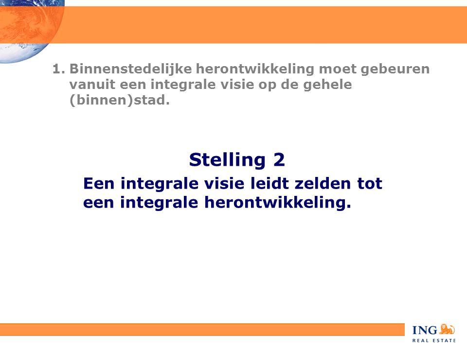 Stelling 2 Een integrale visie leidt zelden tot een integrale herontwikkeling. 1.Binnenstedelijke herontwikkeling moet gebeuren vanuit een integrale v