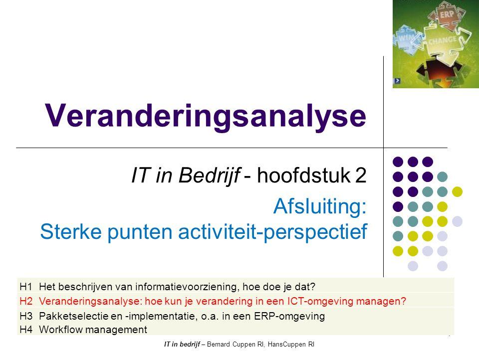 Veranderingsanalyse IT in Bedrijf - hoofdstuk 2 Afsluiting: Sterke punten activiteit-perspectief 1 IT in bedrijf – Bernard Cuppen RI, HansCuppen RI H1 Het beschrijven van informatievoorziening, hoe doe je dat.