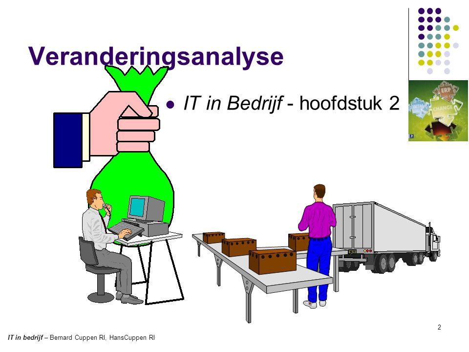 Veranderingsanalyse  IT in Bedrijf - hoofdstuk 2 2 IT in bedrijf – Bernard Cuppen RI, HansCuppen RI