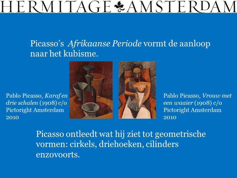 Picasso's Afrikaanse Periode vormt de aanloop naar het kubisme. Picasso ontleedt wat hij ziet tot geometrische vormen: cirkels, driehoeken, cilinders