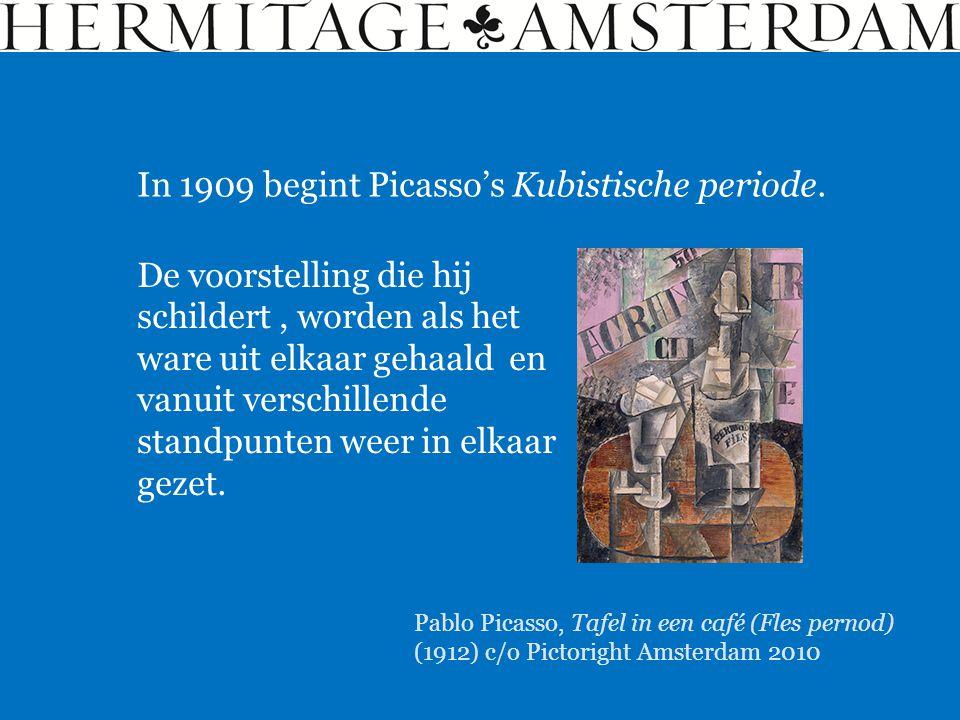 In 1909 begint Picasso's Kubistische periode. De voorstelling die hij schildert, worden als het ware uit elkaar gehaald en vanuit verschillende standp