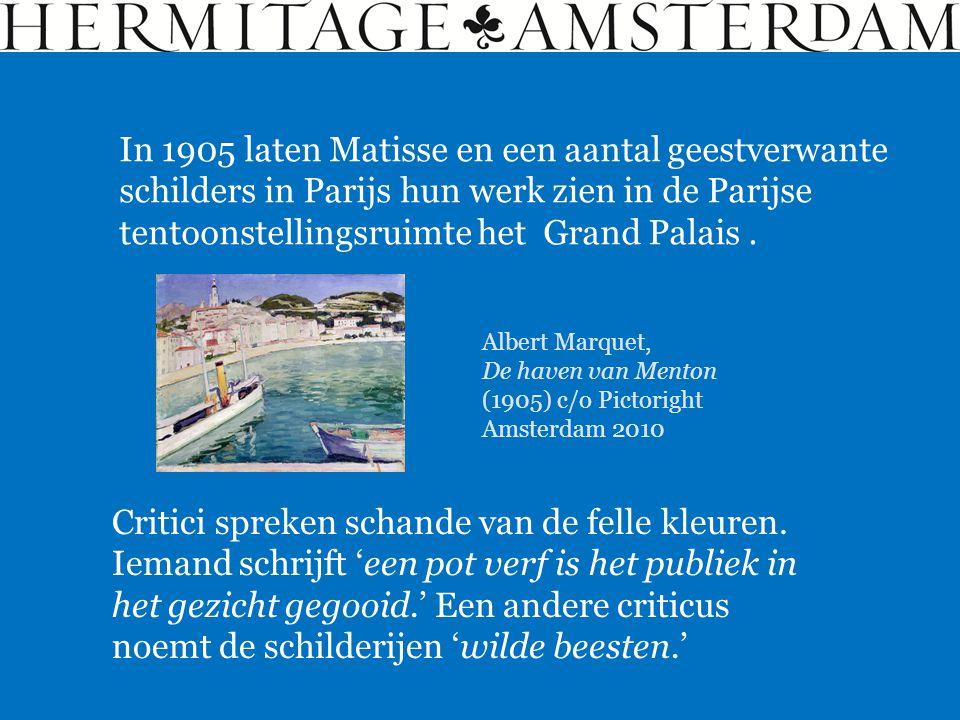 In 1905 laten Matisse en een aantal geestverwante schilders in Parijs hun werk zien in de Parijse tentoonstellingsruimte het Grand Palais. Albert Marq