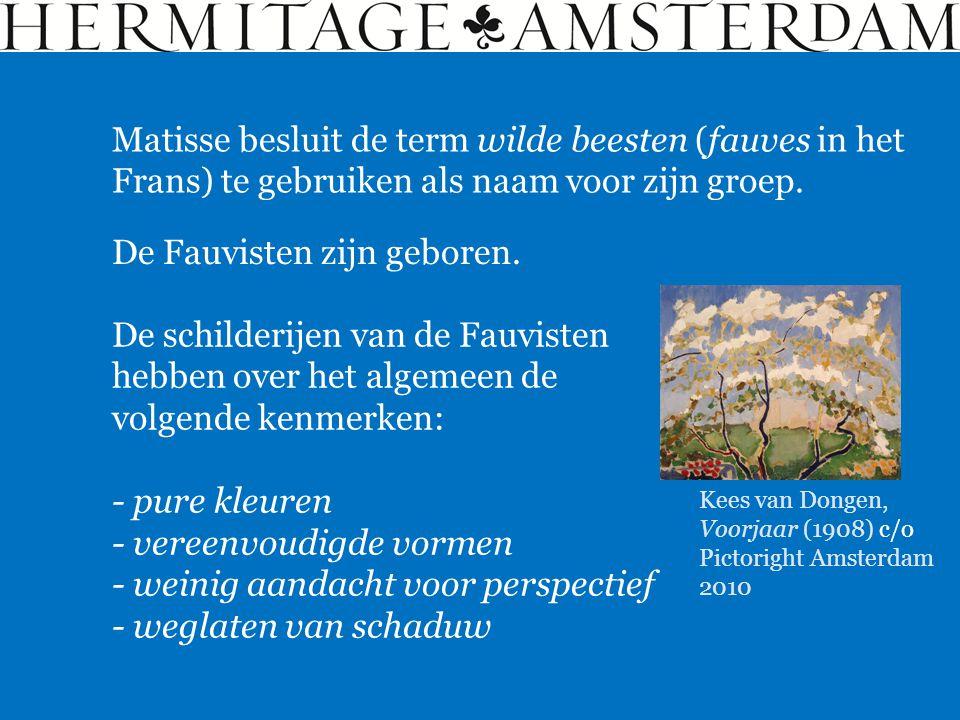 Matisse besluit de term wilde beesten (fauves in het Frans) te gebruiken als naam voor zijn groep. De Fauvisten zijn geboren. De schilderijen van de F