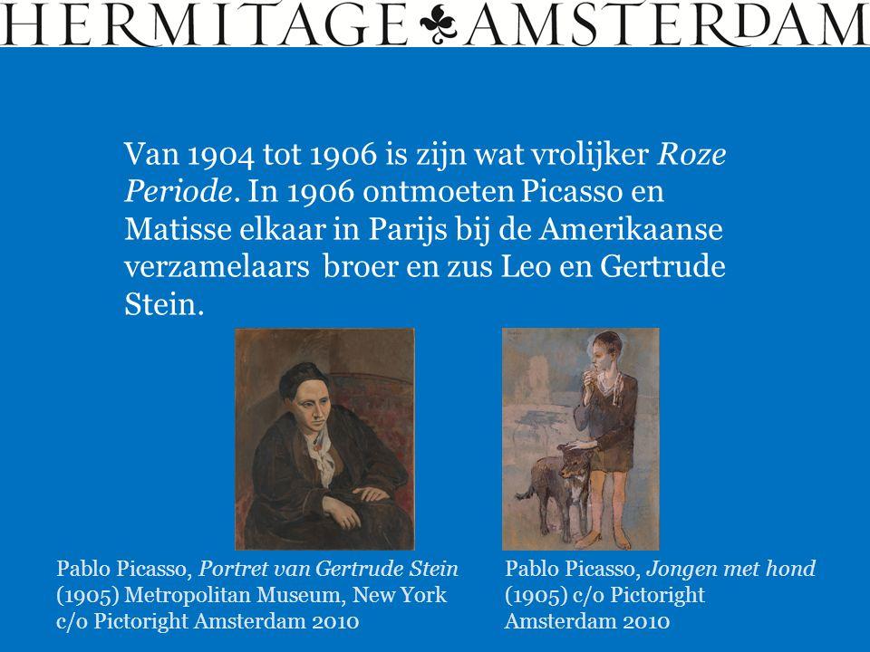 Van 1904 tot 1906 is zijn wat vrolijker Roze Periode. In 1906 ontmoeten Picasso en Matisse elkaar in Parijs bij de Amerikaanse verzamelaars broer en z