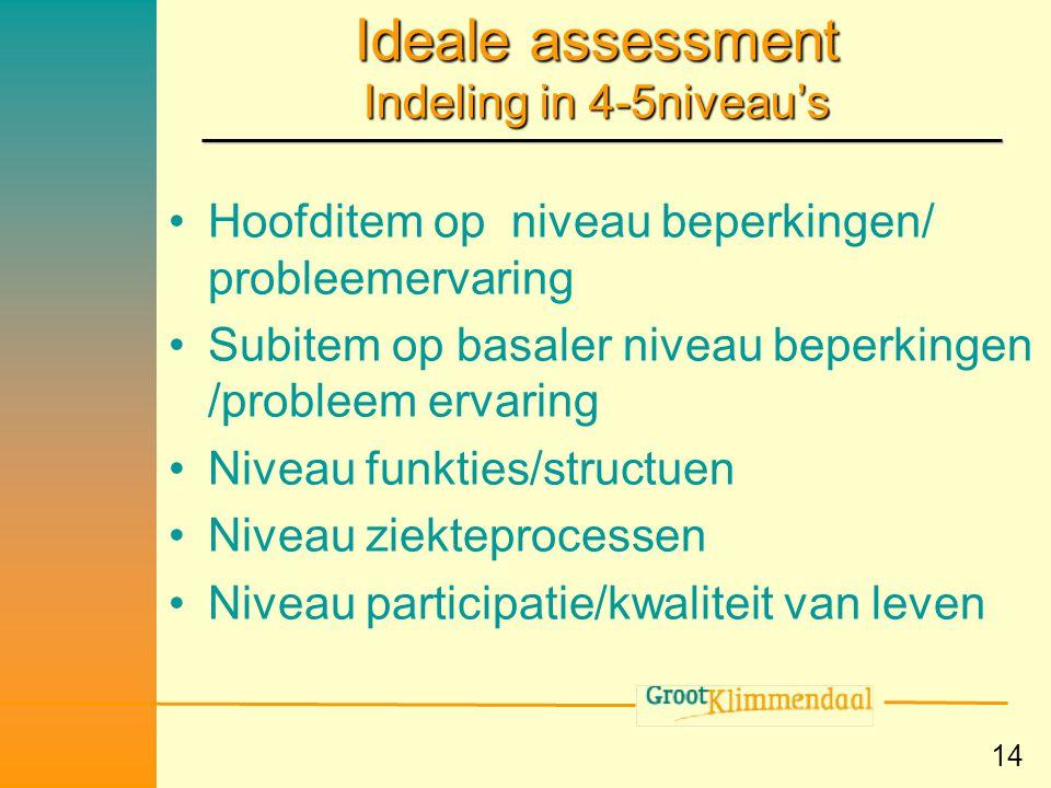 14 Ideale assessment Indeling in 4-5niveau's •Hoofditem op niveau beperkingen/ probleemervaring •Subitem op basaler niveau beperkingen /probleem ervar