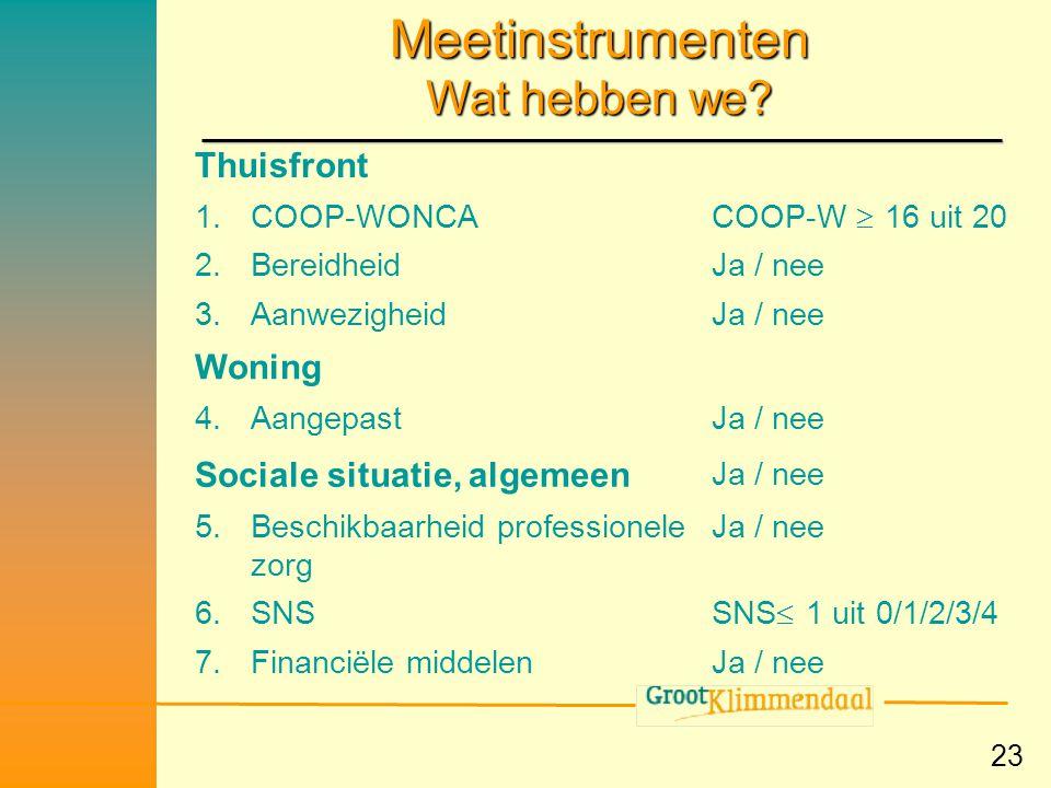 23 Meetinstrumenten Wat hebben we? Ja / nee7.Financiële middelen SNS  1 uit 0/1/2/3/4 6.SNS Ja / nee5.Beschikbaarheid professionele zorg Ja / nee Soc