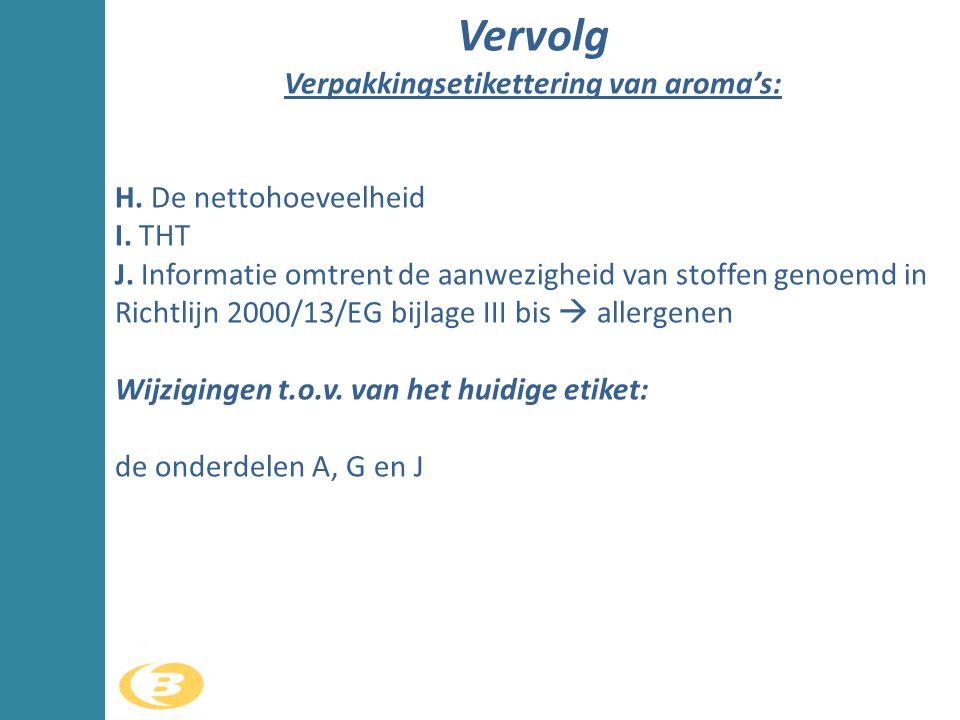 H. De nettohoeveelheid I. THT J. Informatie omtrent de aanwezigheid van stoffen genoemd in Richtlijn 2000/13/EG bijlage III bis  allergenen Wijziging