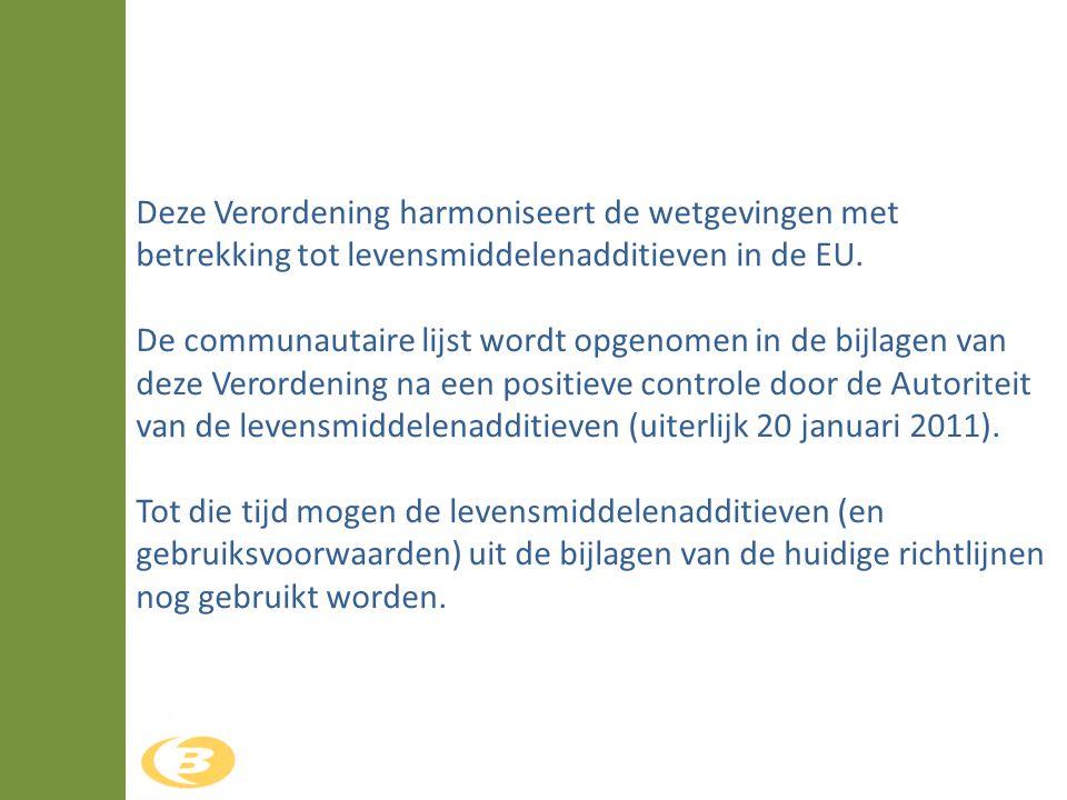 Deze Verordening harmoniseert de wetgevingen met betrekking tot levensmiddelenadditieven in de EU. De communautaire lijst wordt opgenomen in de bijlag