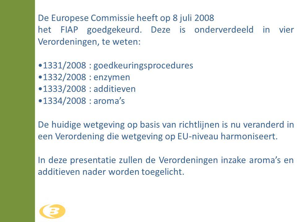 De Europese Commissie heeft op 8 juli 2008 het FIAP goedgekeurd. Deze is onderverdeeld in vier Verordeningen, te weten: •1331/2008 : goedkeuringsproce