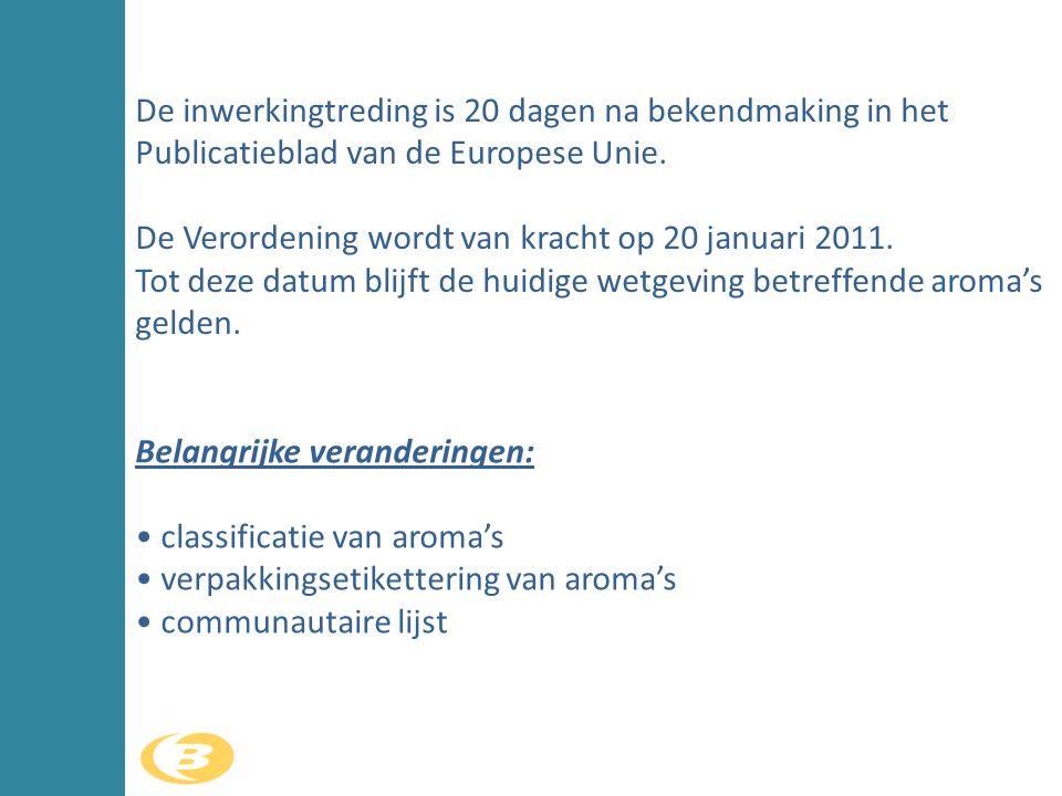 De inwerkingtreding is 20 dagen na bekendmaking in het Publicatieblad van de Europese Unie. De Verordening wordt van kracht op 20 januari 2011. Tot de