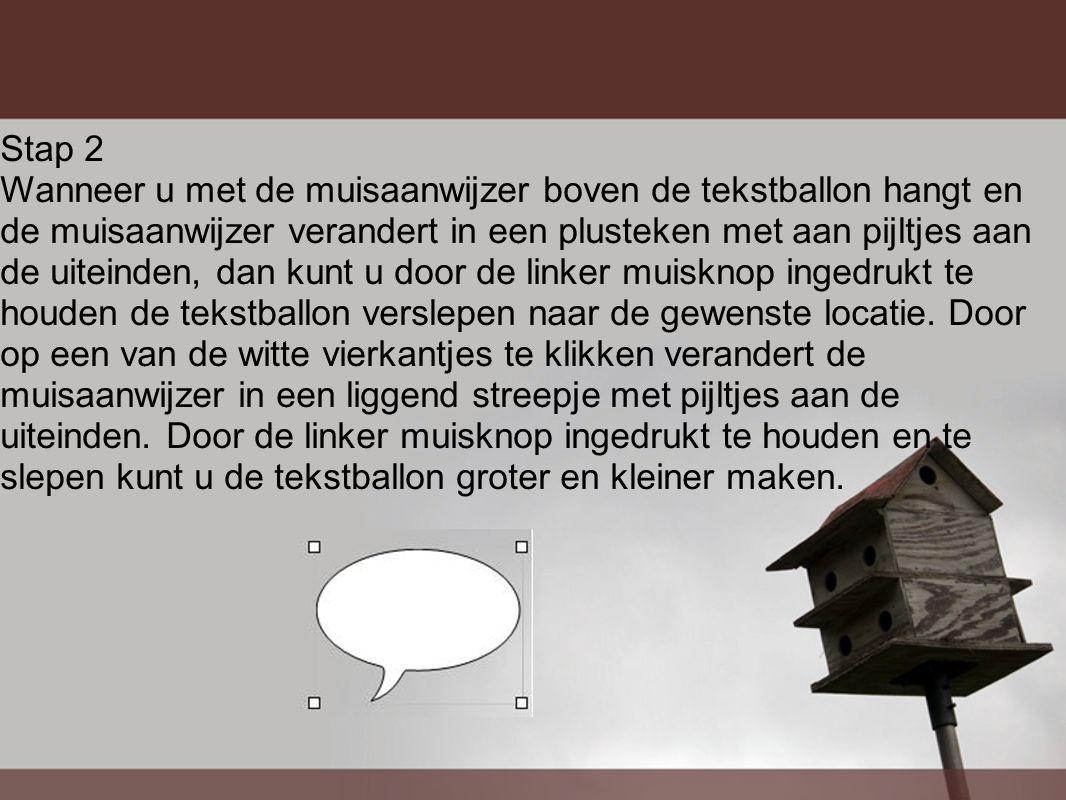 Stap 2 Wanneer u met de muisaanwijzer boven de tekstballon hangt en de muisaanwijzer verandert in een plusteken met aan pijltjes aan de uiteinden, dan kunt u door de linker muisknop ingedrukt te houden de tekstballon verslepen naar de gewenste locatie.