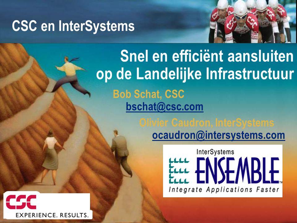 Bob Schat, CSC bschat@csc.com Olivier Caudron, InterSystems ocaudron@intersystems.com Snel en efficiënt aansluiten op de Landelijke Infrastructuur CSC