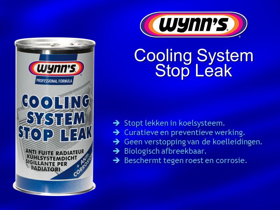 Cooling System Stop Leak  Stopt lekken in koelsysteem.  Curatieve en preventieve werking.  Geen verstopping van de koelleidingen.  Biologisch afbr