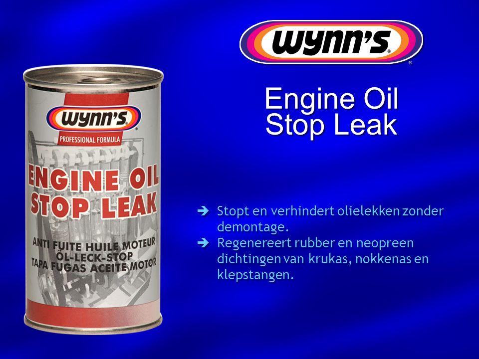 Engine Oil Stop Leak  Stopt en verhindert olielekken zonder demontage.  Regenereert rubber en neopreen dichtingen van krukas, nokkenas en klepstange