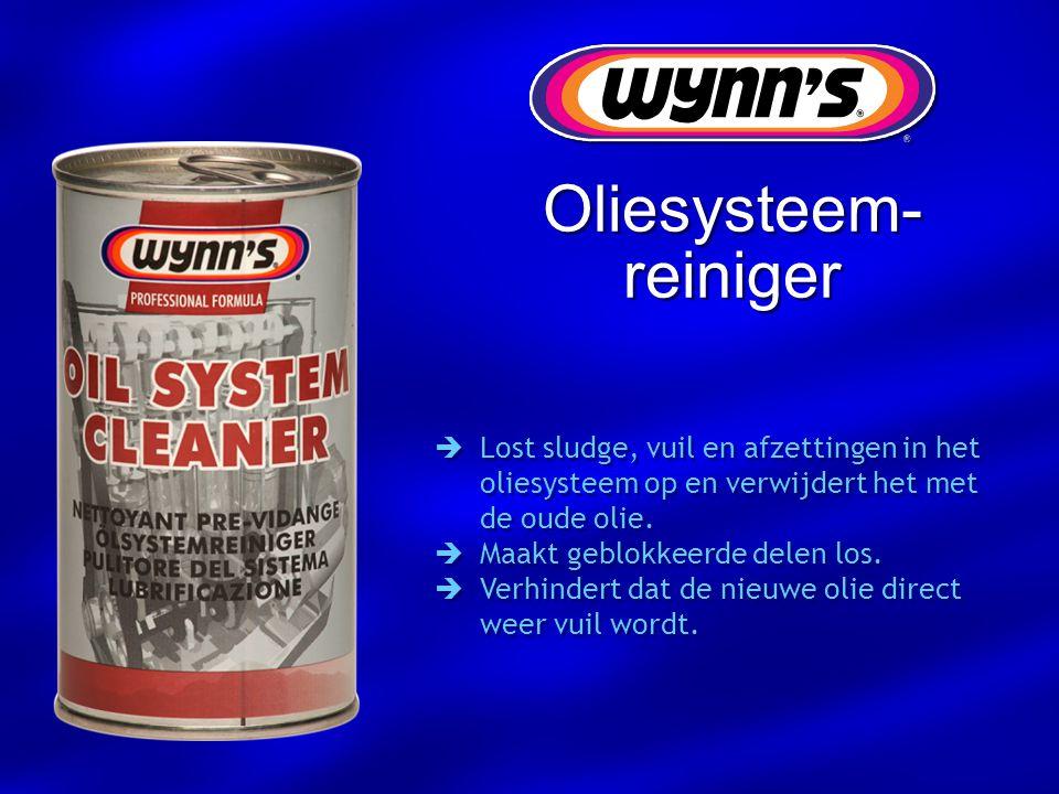 Oliesysteem- reiniger  Lost sludge, vuil en afzettingen in het oliesysteem op en verwijdert het met de oude olie.  Maakt geblokkeerde delen los.  V