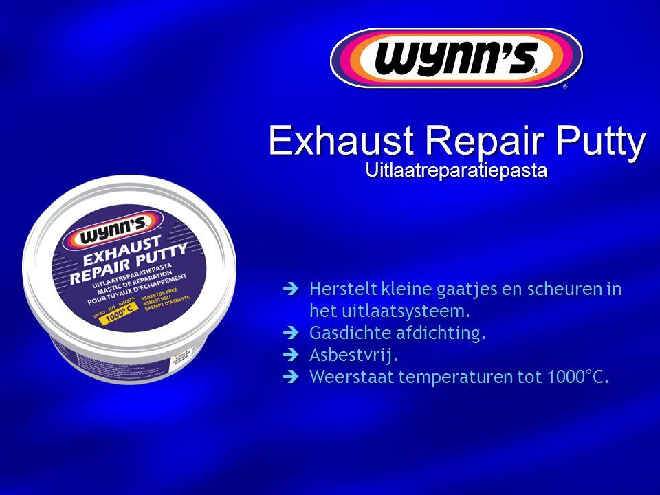 Exhaust Repair Putty Uitlaatreparatiepasta  Herstelt kleine gaatjes en scheuren in het uitlaatsysteem.  Gasdichte afdichting.  Asbestvrij.  Weerst