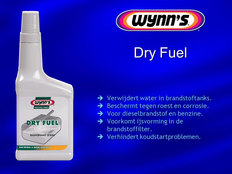 Dry Fuel  Verwijdert water in brandstoftanks.  Beschermt tegen roest en corrosie.  Voor dieselbrandstof en benzine.  Voorkomt ijsvorming in de bra