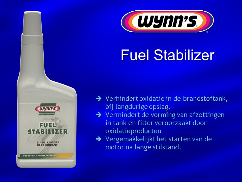  Verhindert oxidatie in de brandstoftank, bij langdurige opslag.  Vermindert de vorming van afzettingen in tank en filter veroorzaakt door oxidatiep
