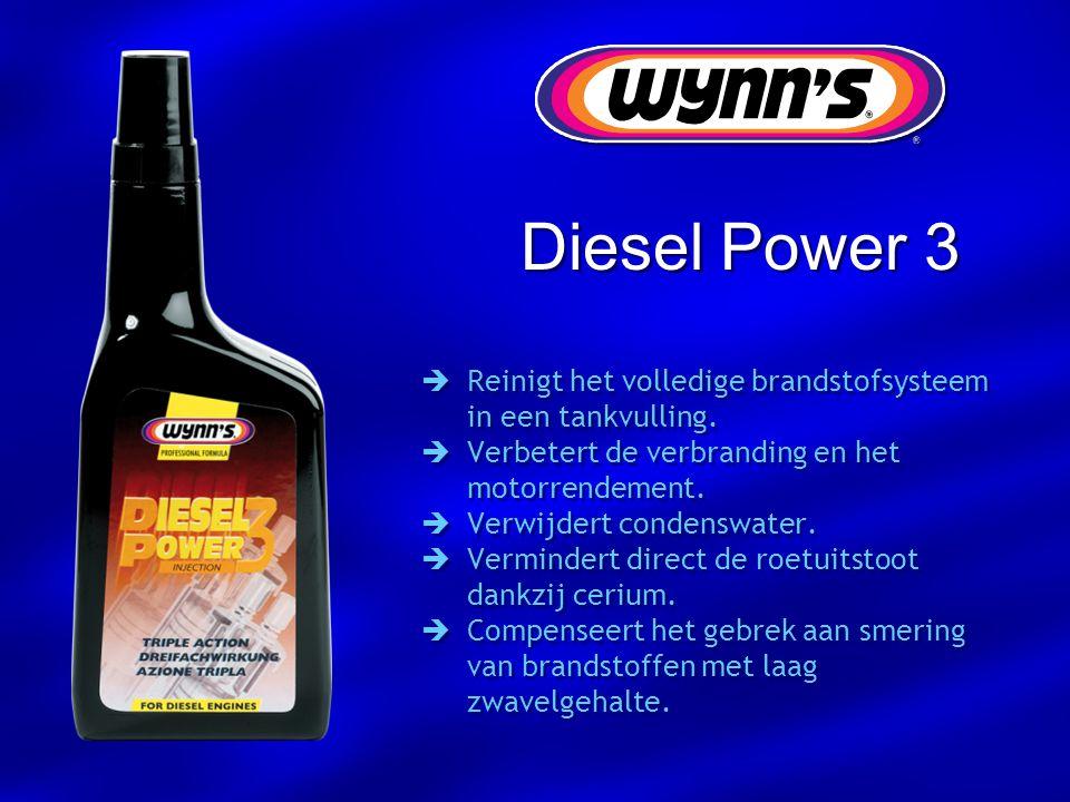 Diesel Power 3  Reinigt het volledige brandstofsysteem in een tankvulling.  Verbetert de verbranding en het motorrendement.  Verwijdert condenswate