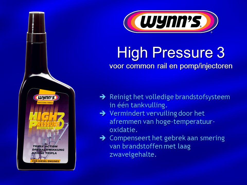 High Pressure 3 voor common rail en pomp/injectoren  Reinigt het volledige brandstofsysteem in één tankvulling.  Vermindert vervuiling door het afre