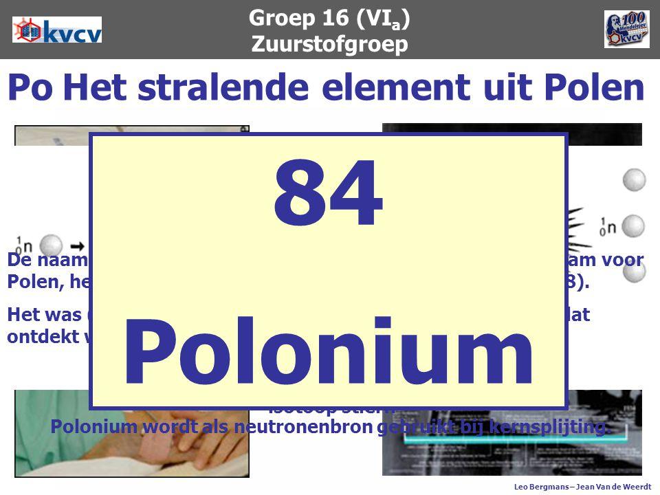 Voor de ontdekking en beschrijving van polonium (samen met radium) kreeg Marie Curie in 1911 de Nobelprijs voor Chemie. Polonium zendt 5000 maal zovee