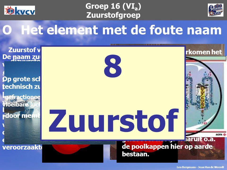Groep 16 (VI a ) Zuurstofgroep OHet element met de foute naam De naam zuurstof is afkomstig van de Griekse woorden oxys en geinomai (Lat.: oxygenium)