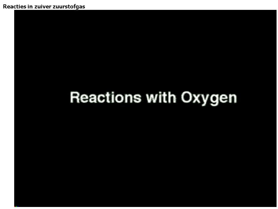 Reacties in zuiver zuurstofgas