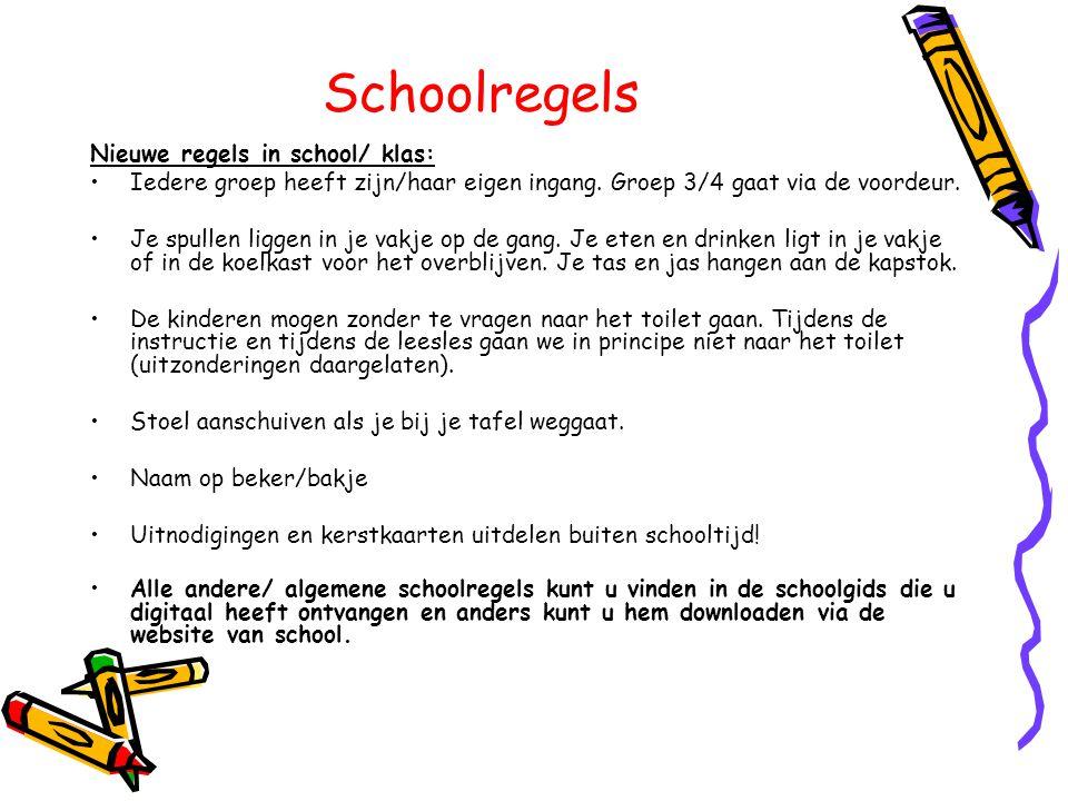 Schoolregels Nieuwe regels in school/ klas: •Iedere groep heeft zijn/haar eigen ingang. Groep 3/4 gaat via de voordeur. •Je spullen liggen in je vakje