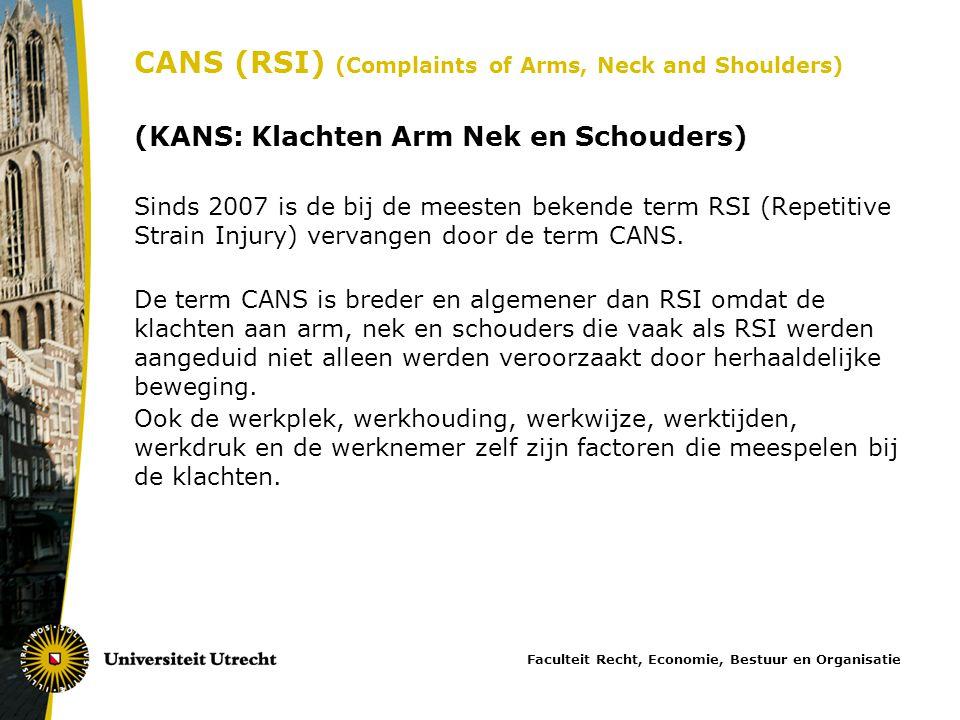 CANS (RSI) (Complaints of Arms, Neck and Shoulders) (KANS: Klachten Arm Nek en Schouders) Sinds 2007 is de bij de meesten bekende term RSI (Repetitive