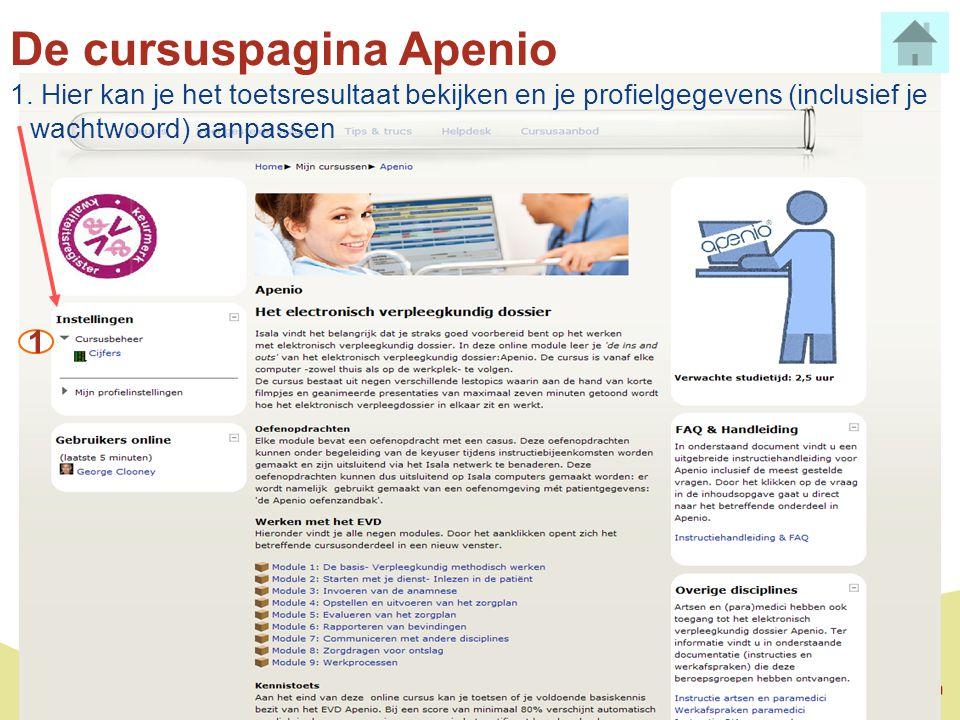 De cursuspagina Apenio 1. Hier kan je het toetsresultaat bekijken en je profielgegevens (inclusief je wachtwoord) aanpassen 1