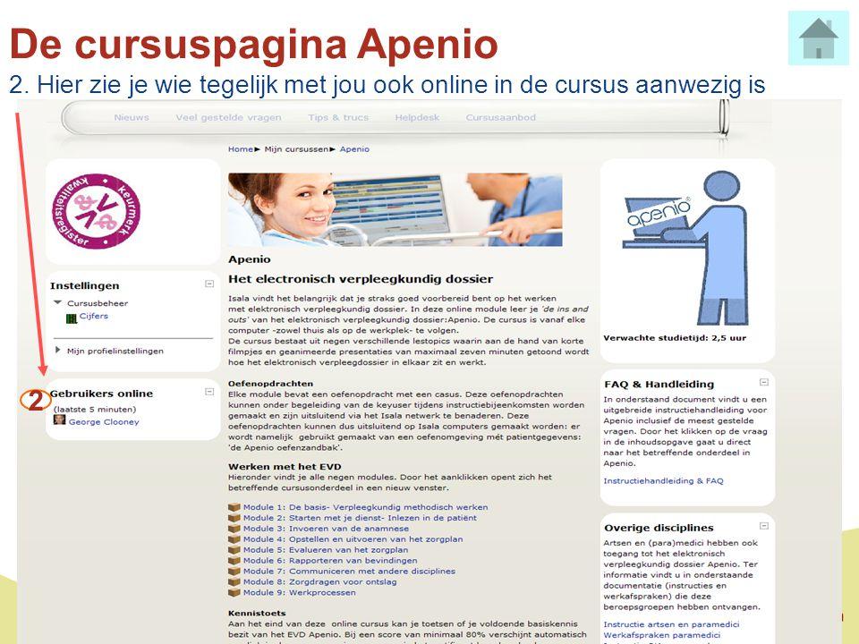 De cursuspagina Apenio 2. Hier zie je wie tegelijk met jou ook online in de cursus aanwezig is 2